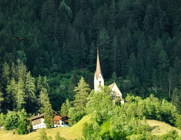 Church Italian Village Dolomites Train Ride