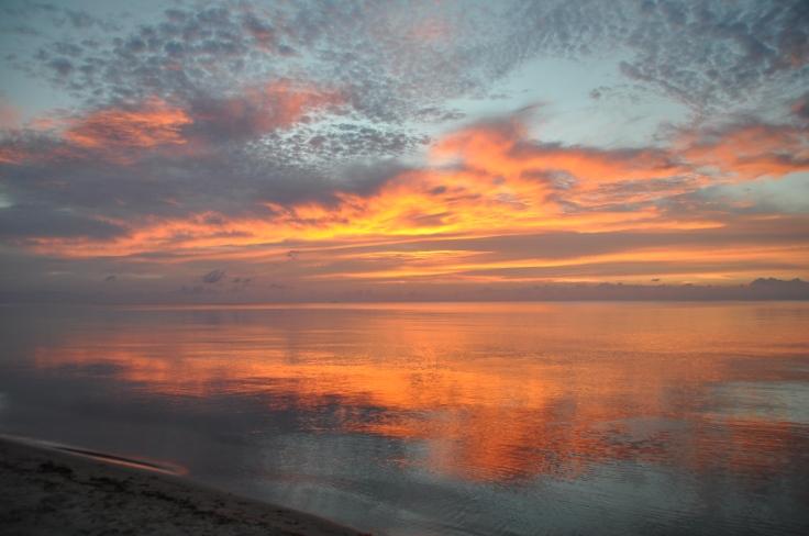 Golden Sunset over ocean in Belize