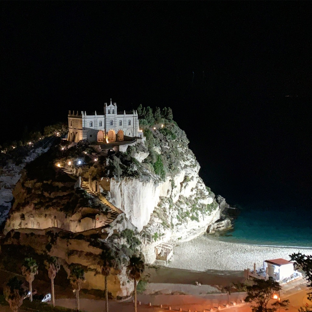 Santa Maria Sanctuary At Night Tropea Italy