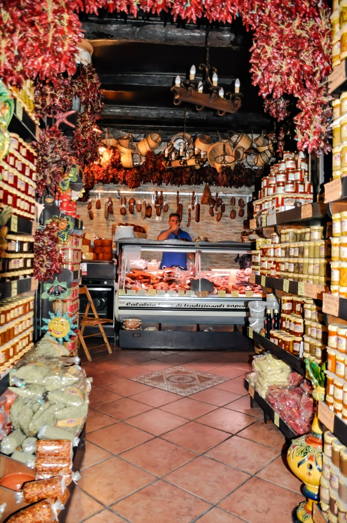 Food shop in Tropea Italy