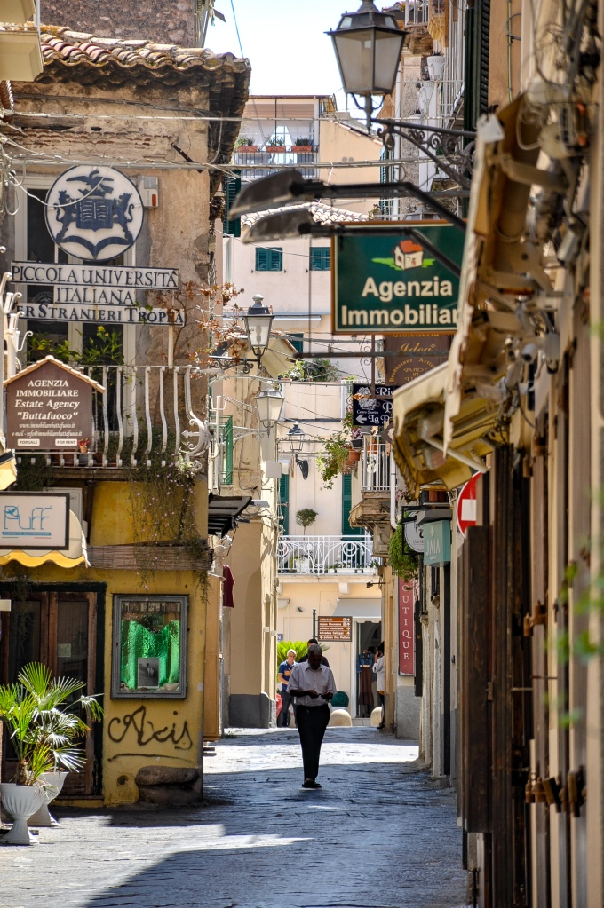 Narrow Street Scene of Tropea Italy