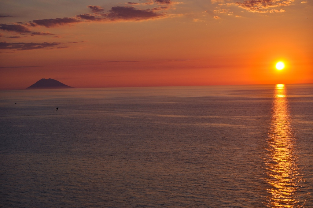 Sunset over Stromboli in Tropea Italy